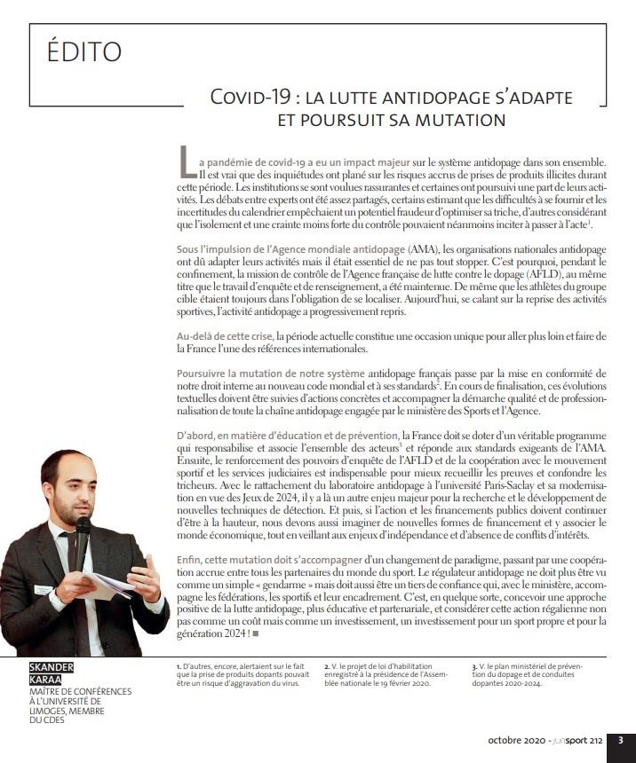 Edition n°212 JuriSPORT Octobre 2020