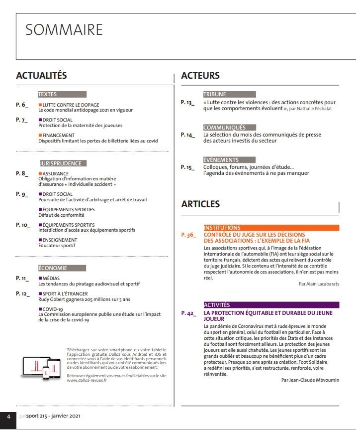 Sommaire 1 janvier 2021 215 jurisport