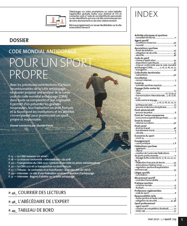 sommaire 2 Jurisport mai 2021